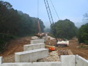 Placing Railroad Supports Heavy Construction